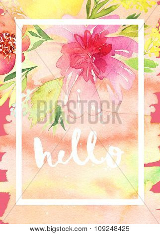 Greeting card with flowers. Pastel colors. Handmade. Watercolor painting. Wedding, birthday, Mother'