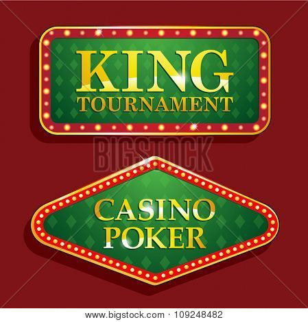 Golden poker casino banners isolated on red background