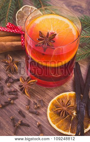 Vintage Photo, Mulled Wine For Christmas Or Winter Evening With Spices And Spruce Branches