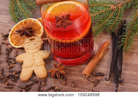 Mulled Wine And Gingerbread For Christmas With Spices And Spruce Branches