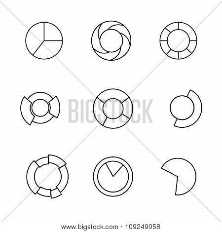 Contour Icons. Set Of  Circle Diagram. Business Chart Elements. Vector Illustration