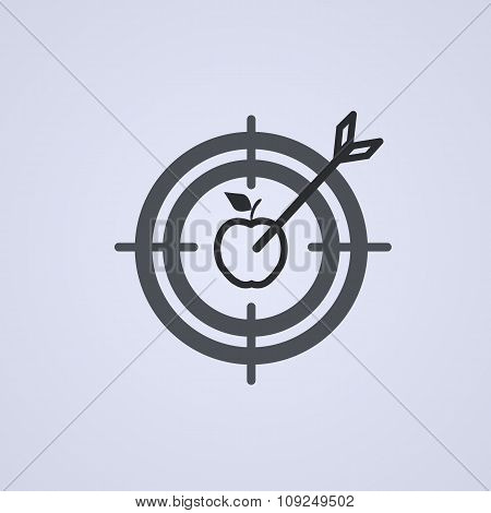 Successful Shoot. Darts Target Aim Icon On Gray Background. Vector Illustration.