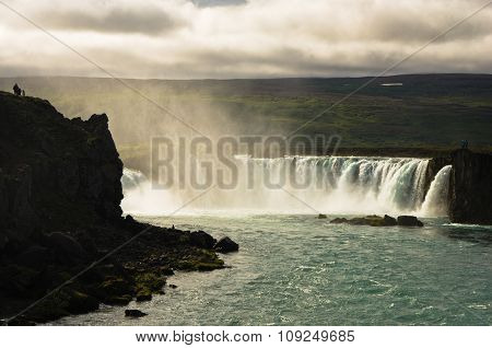 Godafoss waterfall or waterfall of the gods, north Iceland