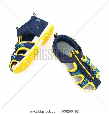 Top View Trendy Sandal For Boy On White Background