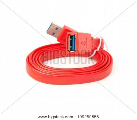 Red Usb Cable On A White Background