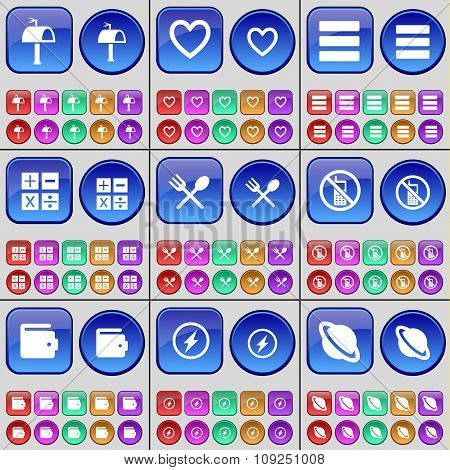 Mailbox, Heart, Apps, Calculator, Cutlery, Mobile Phone, Wallet, Flash, Planet. A Large Set Of