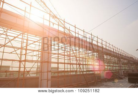 Construction Site Against The Sun