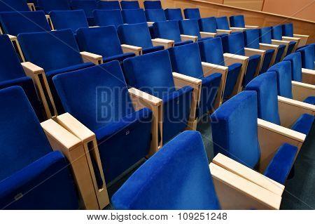 Blue Velvet Chairs In Amphitheater