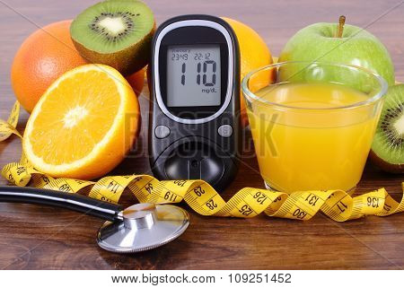 Glucometer, Stethoscope, Fruits, Juice And Centimeter, Diabetes Lifestyles And Nutrition