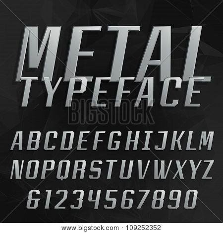 Chrome alphabet vector bold font.