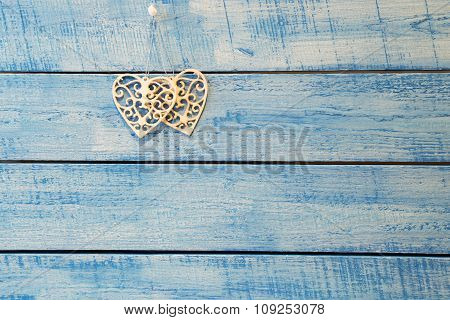 White Heart On Blue Background