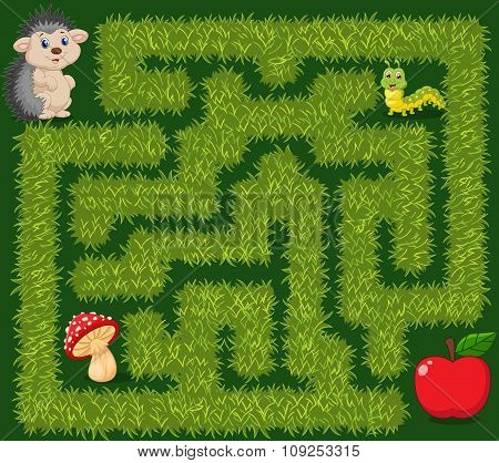 Help hedgehog to find way to apple fruit in the grass maze game