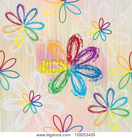 Seamless pattern with abstract rainbow flowers on colorful striped background