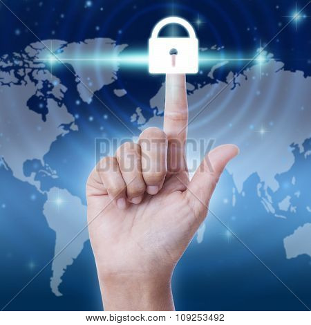 hand pressing security button on virtual screens. business concept