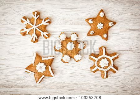 Set Of Tasty Gingerbread Stars, Christmas Theme