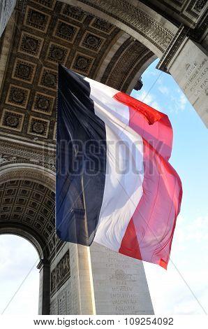 French Flag Flying Under Arc De Triomphe