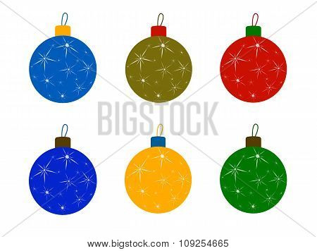 Set of Christmas Tree Colored Balls