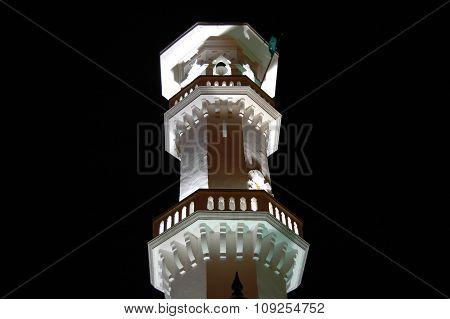 Kapitan Keling Mosque Minaret At Night