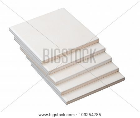 Stack of tiles on white