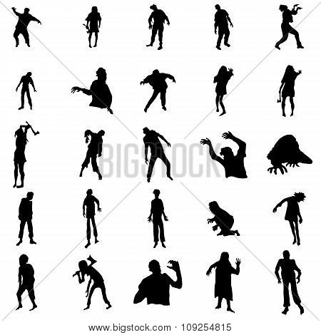 Zombie silhouette set. Zombie silhouette icons. Zombie silhouette signs. Zombie silhouettes art. Zombie icons. Zombie icons web. Zombie icons new. Zombie icons art. Zombie icons www. Zombie icons app