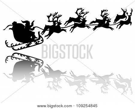 Santa Claus Drives In A Sleigh