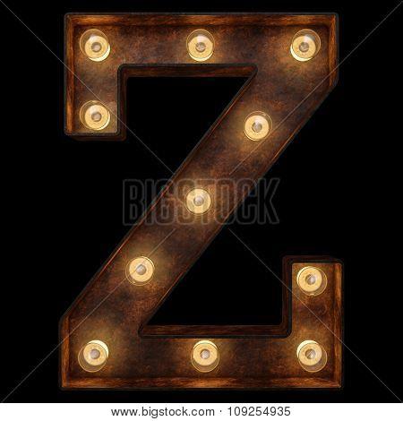 Retro Light Bulb Alphabet. Isolated Over Black Background
