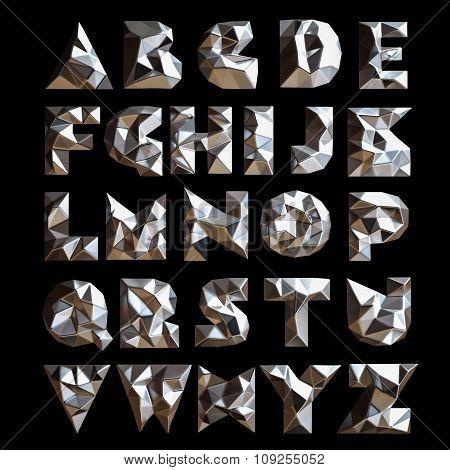 3D Set Chrome Geometric Shapes Alphabet Letters