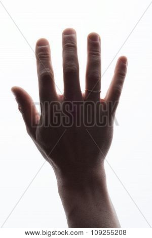 Mans hand showing five count