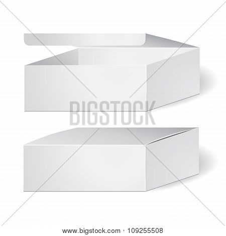 Set Of Cardboard Package Isolated Box On The White Background. Mock Up, Template. Stock Vector