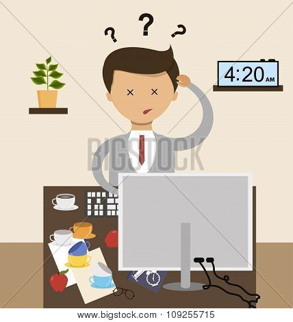 Business Concept In Flat Design. Work To Night. Vector