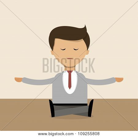 Business Concept In Flat Design. Businessman Doing Yoga Right In The Office, Meditation. Vector