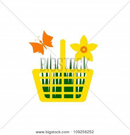 Yellow Shopping Cart With Flower And Butterfly