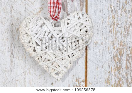 Christmas Toy Wood Heart  On Wooden Background