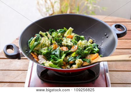 Vegetables In Frying Pan Being Cooked Into Capcay
