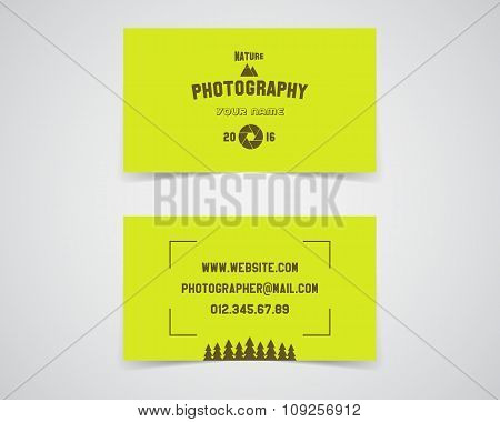 Modern light Business card template for nature photography studio. Unusual design. Corporate brand i
