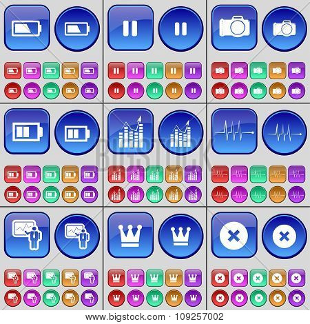 Battery, Pause, Camera, Diagram, Pulse, Graph, Crown, Stop. A Large Set Of Multi-colored Buttons.