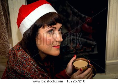 Young Beautiful Woman Drinking Cocoa.