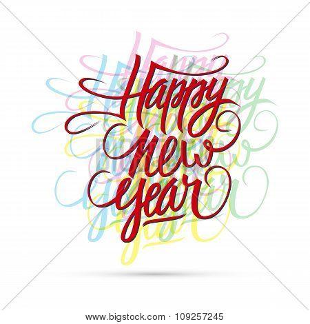 Happy new year hand drawn text design.