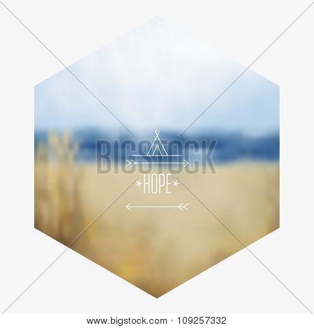 Ocean hipster background. Vector blurred landscape.