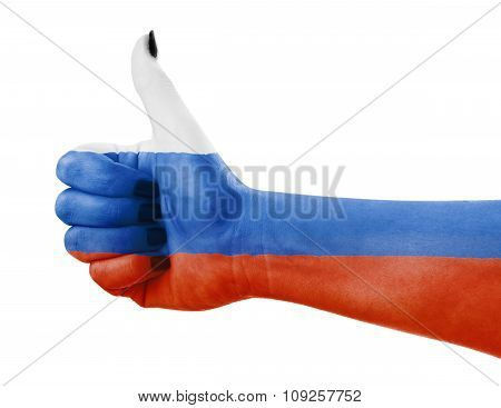 Flag Of Russia On Hand