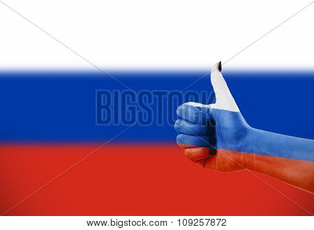 Russian Flag On Hand