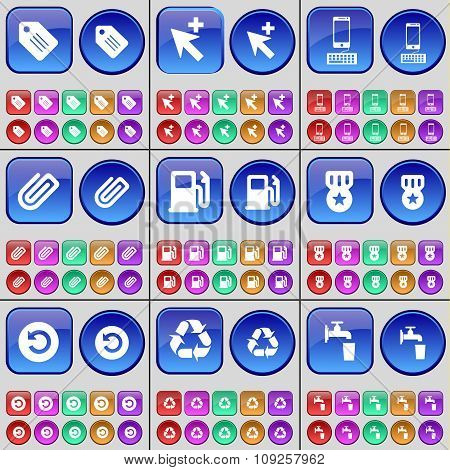 Tag, Cursor, Smartphone, Clip, Gas Station, Medal, Reload, Recycling, Tap. A Large Set Of Multi-