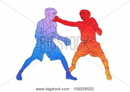Two boxers on the ring on white background