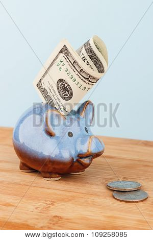 Dollar Bills And Money Box