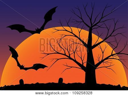 Silhouette Of Graveyard With Dead Tree And Flying Bats Halloween Background. Vector Illustration.