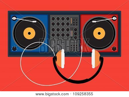 Disk Jockey Player And Head Phone For Dj Music. Vector Illustration Design.