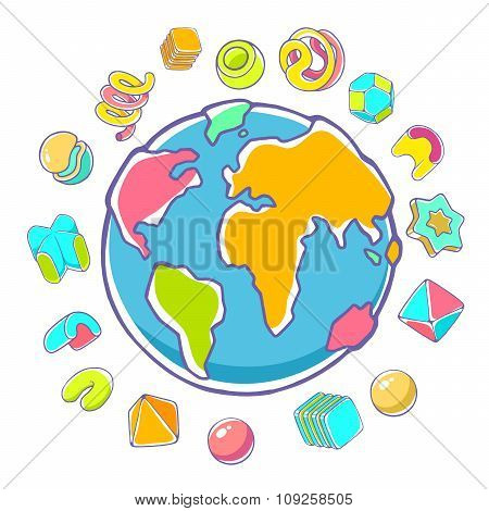 Vector Colorful Illustration Of Planet Earth On White Background With Abstract Elements.