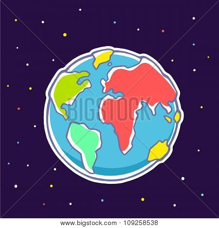 Vector Colorful Illustration Of Planet Earth On Dark Background With Stars.