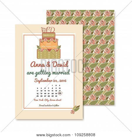 vintage wedding invitations with a badge in the shape of a cake. Vector design element