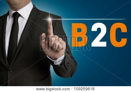 B2C Touchscreen Is Operated By Businessman Concept
